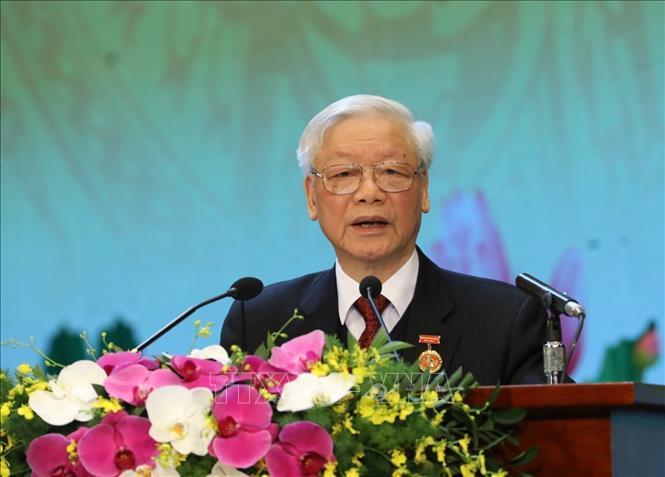 Tổng Bí thư, Chủ tịch nước Nguyễn Phú Trọng phát biểu tại Đại hội Thi đua yêu nước toàn quốc lần thứ X.